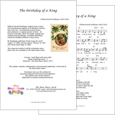 Birthday of a King in Ab - Lead Sheet