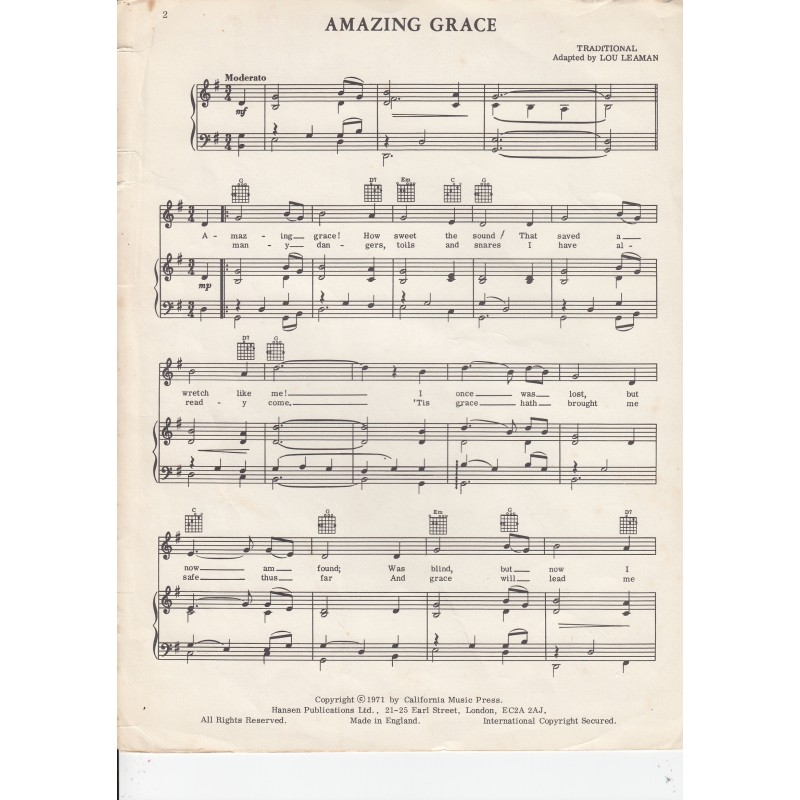 Amazing Grace Lyrics And Sheet Music: Amazin Grace, Sheet Music